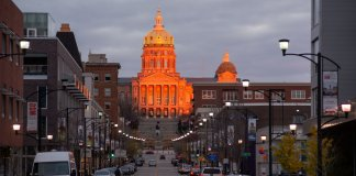 The State Capital of Iowa reflects the sunset