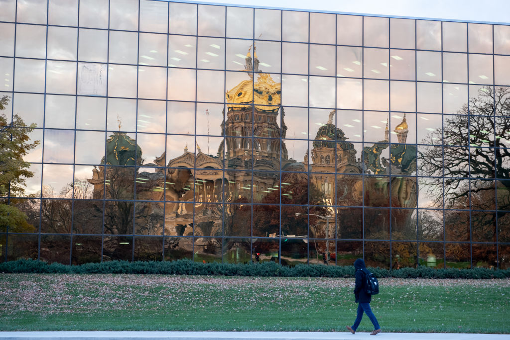 he State Capital of Iowa is reflected by the Henry A Wallace Building