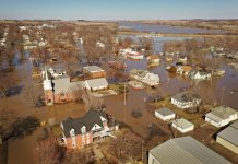 Aerial view of flooded Hamburg Iowa in 2019