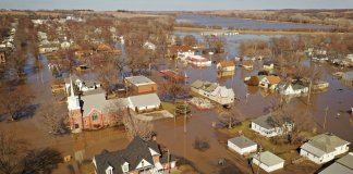 Aerial view of flooded Hamburg Iowa in 2019