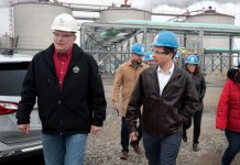 Democratic presidential candidate Pete Buttigieg at an ethanol plant in Iowa