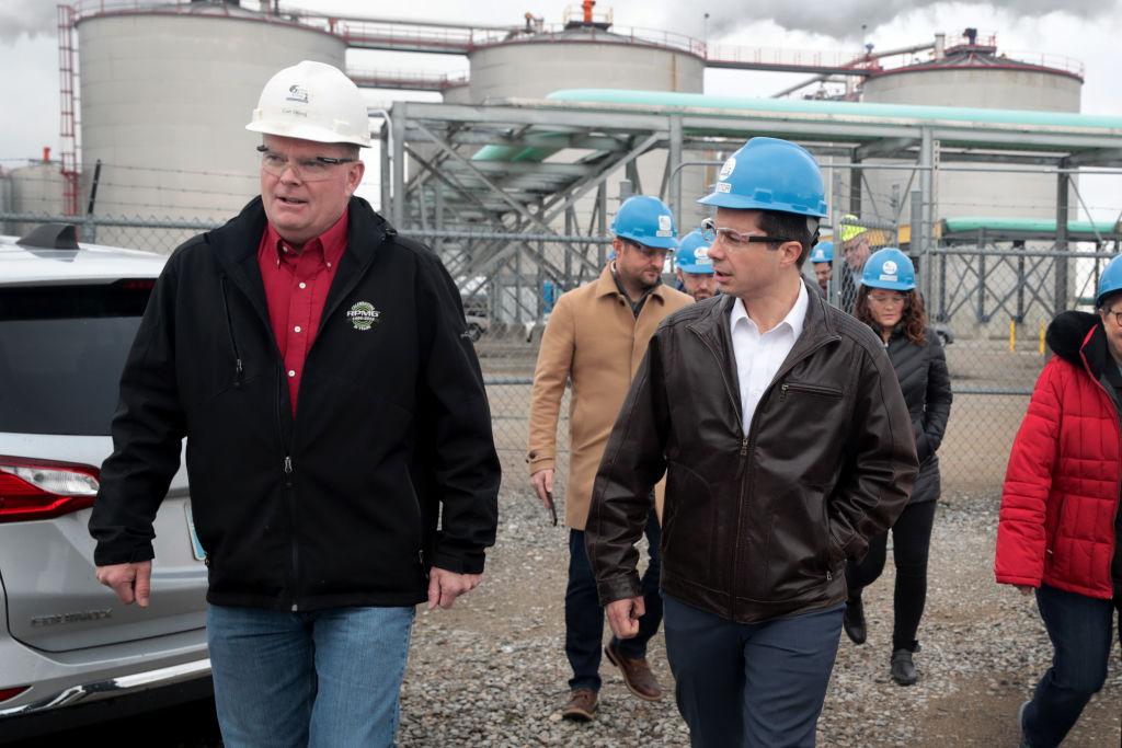 Democratic presidential candidate Pete Buttigieg at an ethanol plant in Iowa