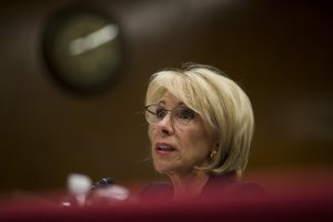 U.S. Secretary of Education Betsy DeVos testifies during a Senate Labor, Health and Human Services, Education and Related Agencies Subcommittee discussing proposed budget estimates and justification for FY2020 for the Education Department on March 28, 2019 in Washington, DC. (Photo by Zach Gibson/Getty Images)