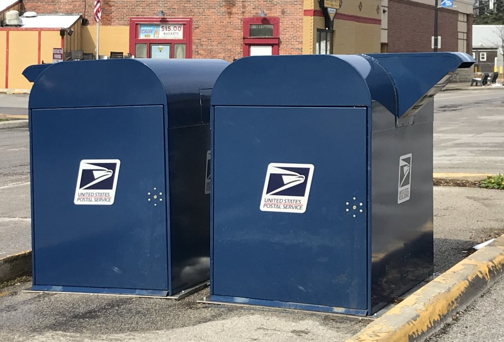 Mailboxes across from the Beaverdale post office in Des Moines.