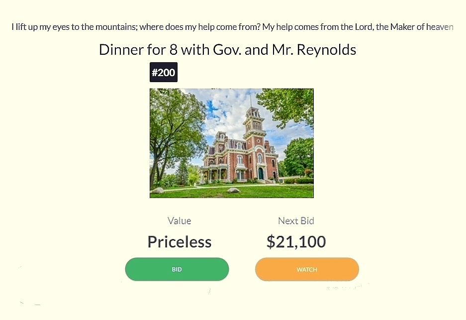 Governor auctions off dinner at Terrace Hill to benefit Christian school